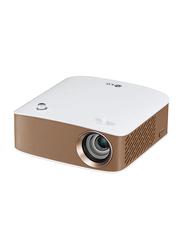 LG PH150 HD LCoS CineBeam Portable Projector, 130 Lumens, Wireless Screen Share/Bluetooth, White/Brown