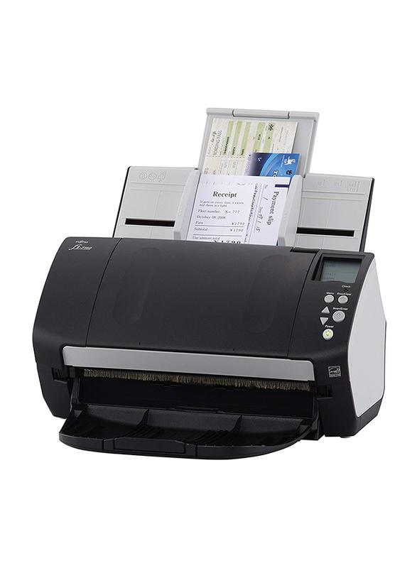 Fujitsu Fi-7160 Color Duplex Document Scanner, 600DPI, White LED Array Display, Black/White