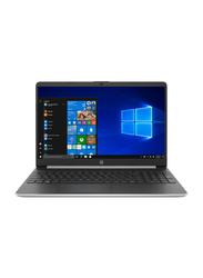 "HP 15s FQ1001NE Notebook Laptop, 15.6"" FHD Display, Intel Core i3-1001G1 10th Gen 1.2GHz, 256GB SSD, 4GB RAM, Intel UHD Graphics, English Keyboard, Win 10, 8FH05EA, Silver\Black"
