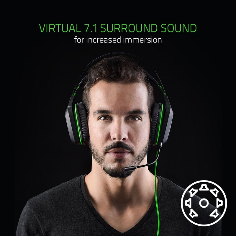 Razer Electra V2 Analog 3.5 mm Jack Over-Ear Gaming Headset with Mic, Black