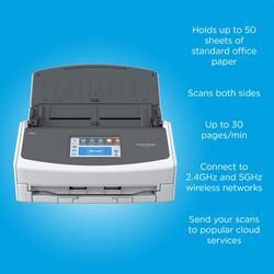 Fujitsu ScanSnap ix1500 Color Duplex Document Scanner, 600DPI, LCD Display, Black/White