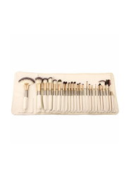 Professional 24 Pieces Makeup Brushes Set with Folding PU Leather Bag, Beige
