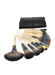 Professional 24 Pieces Wooden Handle Makeup Brushes Set with Folding PU Leather Bag, Beige