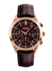 SKMEI Analog Leather Genuine Quartz Wristwatch for Men, Water Resistant with Chronograph, Brown, 9127