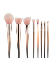 Professional 8 Pieces Plating Handle Makeup Brushes Set, Rose Gold
