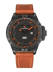 Naviforce Analog PU Leather Quartz Watch for Men, Water Resistant, Brown-Orange, 9100