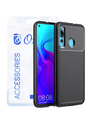 Ozone Huawei Nova 4 Carbon Fiber Series Protective Mobile Phone Case Cover, with Full Cover Tempered Glass, Black