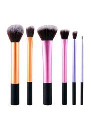 Professional 6 Pieces Makeup Brushes Set, Orange/Pink/Purple