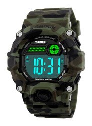SKMEI Digital Polyurethane Wrist Watch for Men, Water Resistant with Chronograph, Camouflage-Black, 1162