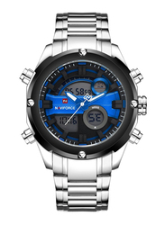 Naviforce Analog/Digital Stainless Steel Sports Watch for Men, Water Resistant, Silver-Blue, 9088