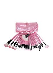 Professional 32 Pieces Makeup Brushes Set, Pink/White