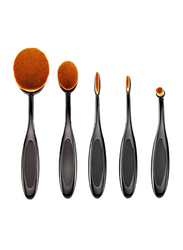 Makeup For You 5 Pieces Professional Makeup Brushes Set, Black