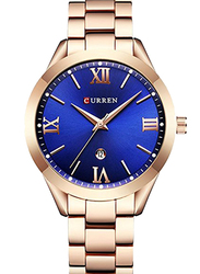 Curren Analog Stainless Steel Quartz Watch for Women, Water Resistant with Rose Gold-Blue, 9007