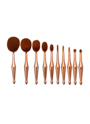 Professional 10 Pieces Oval Toothbrush Mermaid Shape Makeup Brushes Set, Gold
