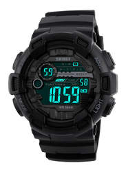 SKMEI Digital Polyurethane Japanese-Quartz Watch for Men, Water Resistant , Black, 1243