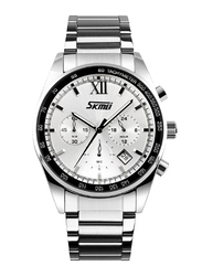 SKMEI Analog Stainless Steel Quartz Watch for Men, Water Resistant with Chronograph, Date Display, Silver-White, 9096