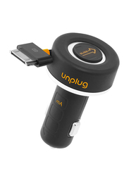 Unplug 2000mA Superfast Retractable Car Charger for Apple 30-Pin devices, Black