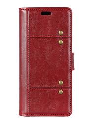 Rivet Huawei nova 3i (P Smart+) Decor Crazy Horse Stand Wallet Leather Mobile Phone Flip Case Cover, Red