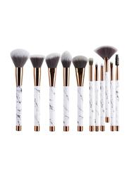 Unique 11 Pieces Marble Makeup Brushes Set, White