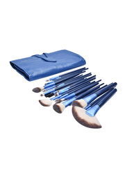 Professional 24 Pieces Makeup Brushes Set with Folding PU Leather Bag, Blue