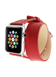 PU Leather Apple Watch 42mm Band Strap Double Tour, with Screen Protector, Red