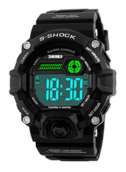 SKMEI Digital Polyurethane Wrist Watch for Men, Water Resistant with Chronograph, Black, 1162