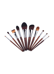 Professional 11 Pieces Wooden Handle Makeup Brushes Set, Brown