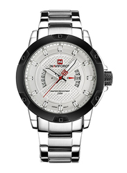 Naviforce Analog Stainless Steel Quartz Watch for Men, Water Resistant, Calendar Display, Silver-White, 9085
