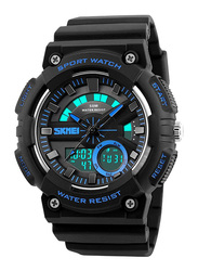 SKMEI Analog/Digital Polyurethane Japanese-Quartz Watch for Men, Water Resistant , Black-Blue, 1235