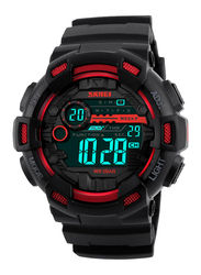 SKMEI Digital Polyurethane Japanese-Quartz Watch for Men, Water Resistant , Black-Red, 1243