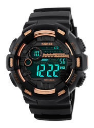SKMEI Digital Polyurethane Japanese-Quartz Watch for Men, Water Resistant , Black-Gold, 1243
