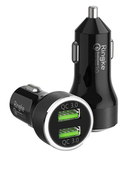Ringke REAL X2 Quick Charge 3.0 Dual Port Car Charger for Mobile Phones, Black