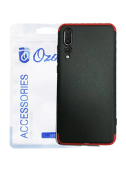 Ozone Huawei P20 Pro GKK 360 Dual Embed Ultra Slim Mobile Phone Case Cover, with Full Cover Tempered Glass, Black/Red