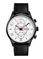 SKMEI Analog Leather Genuine Watch for Men, Water Resistant, Dual Time & Date Display, Black-White, 1603