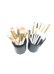 Professional 20 Pieces Synthetic Hair Makeup Brushes Set with Leather Cup Holder, White