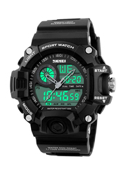 SKMEI LED Analog/Digital Silicone Japanese-Quartz Sports Watch for Men, Water Resistant, Black, 1029