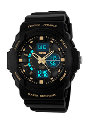SKMEI Analog/Digital Rubber Japanese-Quartz Sports Watch for Men, Water Resistant with Chronograph, Black-Gold, 0955
