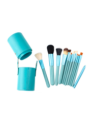 Professional 12 Pieces Makeup Brushes Set with Leather Cup Holder, Light Blue