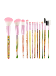 12 Pieces Soft Synthetic Hair Makeup Brushes Set with Artistic Unicorn Wooden Handle, Pink
