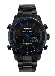 SKMEI LED Analog/Digital Stainless Steel Japanese-Quartz Sports Watch for Men, Water Resistant with Chronograph, Black-Blue, 1131