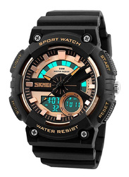 SKMEI Analog/Digital Polyurethane Japanese-Quartz Watch for Men, Water Resistant , Black-Gold, 1235