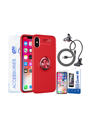 Ozone Apple iPhone X Slim Magnetic Ring Series Mobile Phone Case Cover 4 in 1 Accessory Set, Red