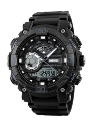 SKMEI Analog/Digital Polyurethane Japanese-Quartz Watch for Men, Water Resistant with Chronograph, Black, 1228