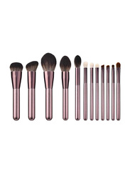 Professional 12 Pieces Wooden Handle Makeup Brushes Set, Rose Gold