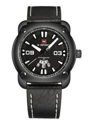 Naviforce Analog Leather Quartz Wrist Watch for Men, Water Resistant, Date & Week Display, Black-White, 9096