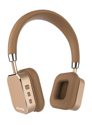 AWEI A900BL Wireless On-Ear Noise Cancelling Bluetooth Bass Stereo Headphones with Mic, Gold