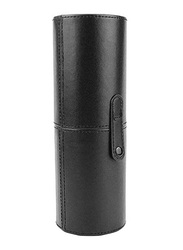 Professional Cylinder Shape PU Leather Makeup Brush Case, Black