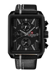 Naviforce Analog Leather Quartz Watch for Men, Water Resistant with Chronograph, Calendar Diplay, Black-Grey, 9111