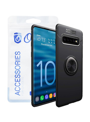Ozone Galaxy S10 Mobile Slim Magnetic Ring Series Protective Mobile Phone Case Cover, with Full Cover Tempered Glass, Black