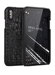 Crocodile Design iPhone XS Max Cover Leather Coated Plastic Mobile Phone Back Case Cover, Black